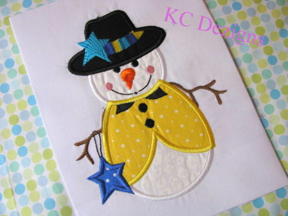 Snowman Holding Star Applique Winter Embroidery Design By karen50