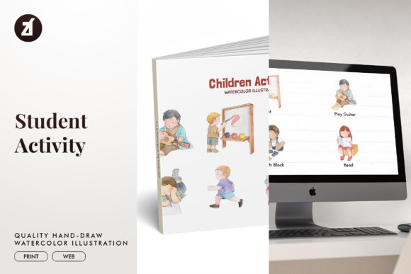 Student Activity Watercolor Illustration Graphic Illustrations By Chanut is watercolor