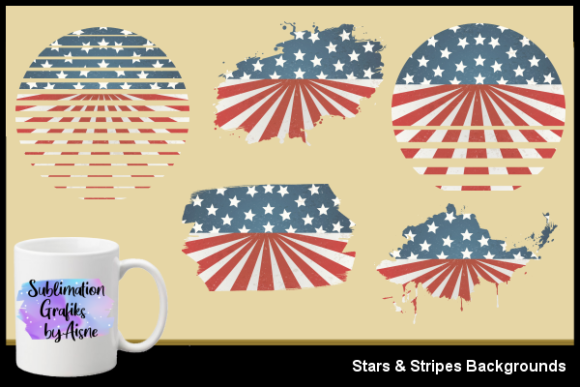 Print on Demand: Sublimation Stars & Stripes Backgrounds Graphic Backgrounds By Aisne