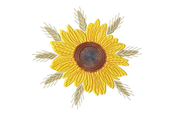 Print on Demand: Sunflower and Wheat Spikelets Single Flowers & Plants Embroidery Design By EmbArt