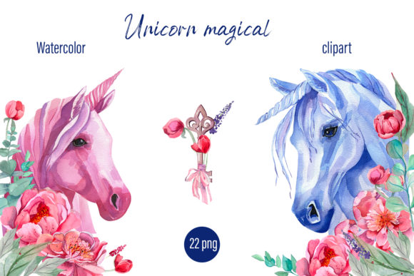 Print on Demand: Unicorn Clipart Watercolor Graphic Illustrations By ElenaZlataArt