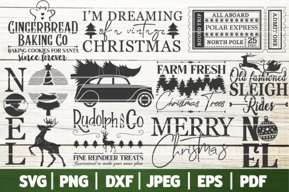 Vintage Christmas Bundle SVG, Farmhouse Graphic Crafts By SeventhHeaven Studios