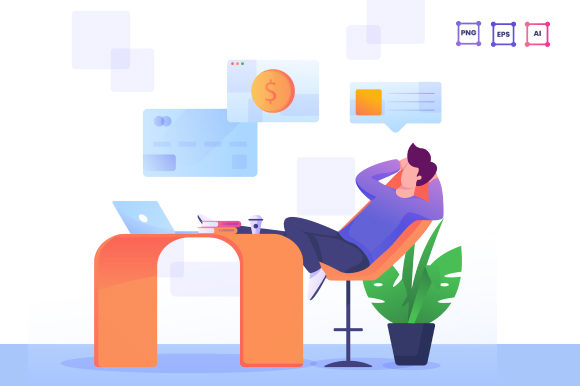 Waiting for Money Illustration Graphic Illustrations By pancaokta