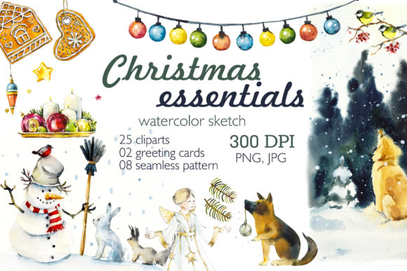 Watercolor Christmas Essential Graphic Illustrations By Мария Кутузова