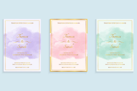 Watercolor Wedding Invitation Graphic Backgrounds By medelwardi