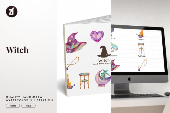 Witch Watercolor Illustration Graphic Illustrations By Chanut is watercolor