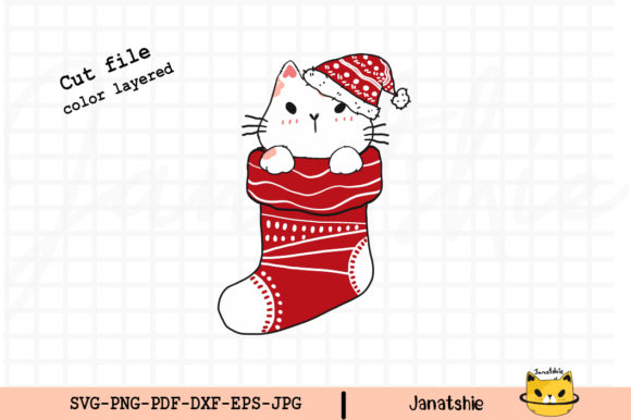 Cute Cat in Christmas Red Sock Clip Art Graphic Illustrations By Janatshie