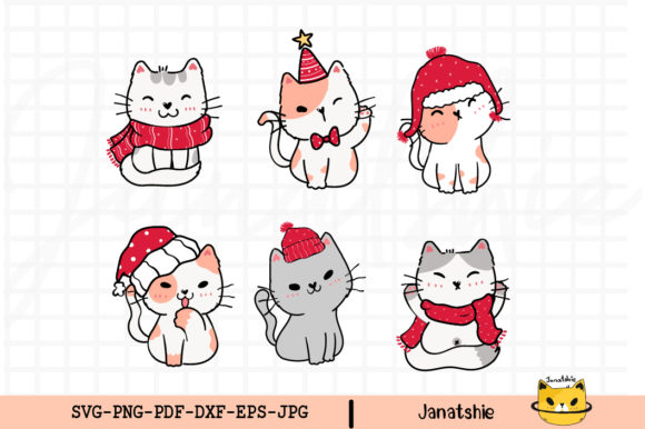 Cute Kitten Cat Christmas Clip Art Set Graphic Illustrations By Janatshie