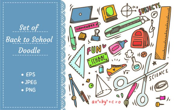 School Supplies Doodle Graphic Illustrations By Big Barn Doodles