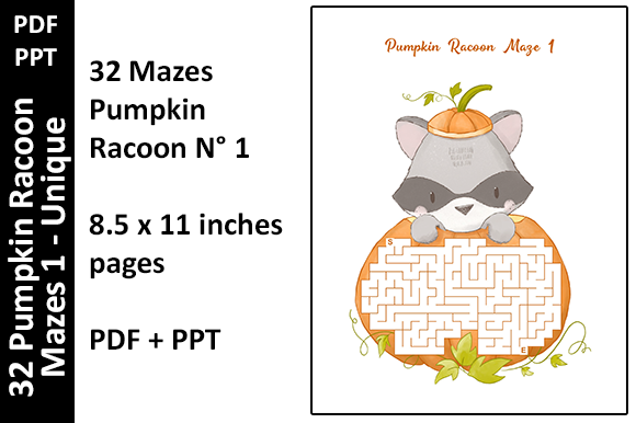 32 Colored Pumpkin Racoon Mazes 1 Unique Graphic KDP Interiors By Oxyp