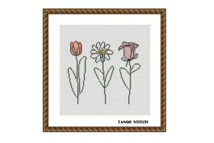 Print on Demand: Abstract Flowers Cross Stitch Pattern Graphic Cross Stitch Patterns By Tango Stitch