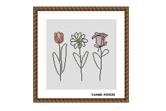 Abstract Flowers Cross Stitch Pattern Graphic Cross Stitch Patterns By Tango Stitch