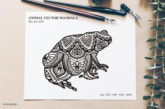 Print on Demand: Animal Vector Mandala Line Art Style X22 Graphic Crafts By Ahsancomp Studio