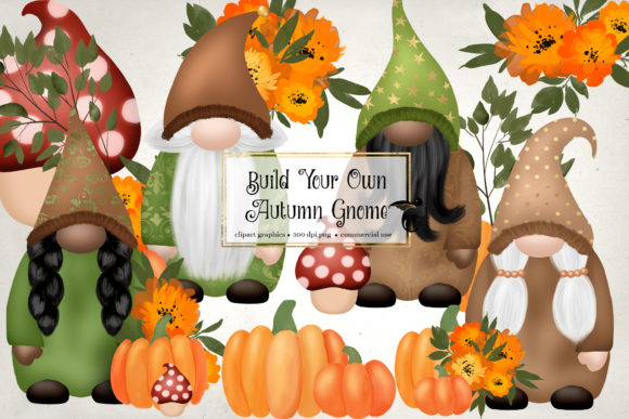 Print on Demand: Autumn Gnome Clipart Graphic Illustrations By Digital Curio