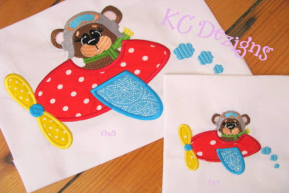 Aviator Bear 02 Applique Boys & Girls Embroidery Design By karen50