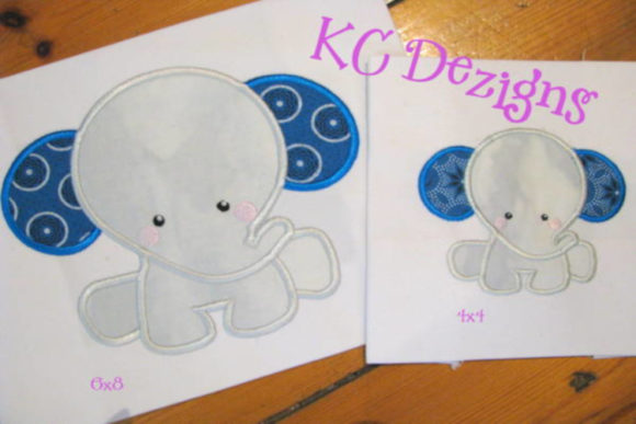 Baby Elephant Sitting Applique Design Embroidery