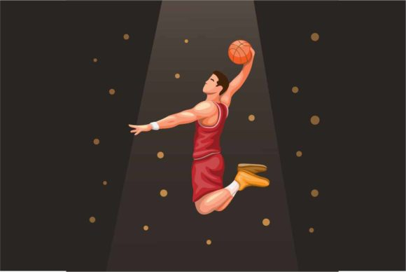 Print on Demand: Basket Player Slamdunk Under Spotlight. Graphic Illustrations By aryo.hadi