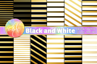 Black and White Gold Stripes Digital Paper Graphic Backgrounds By paperart.bymc