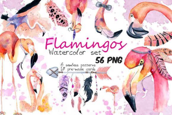 Boho Flamingo Watercolor Set Graphic Illustrations By EvgeniiasArt