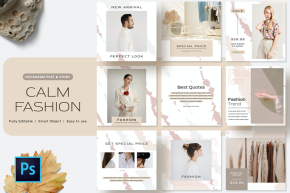 Calm Fashion Instagram Post Template Graphic Graphic Templates By FinestLab