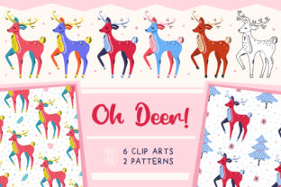 Print on Demand: Cartoon Deers. Christmas Clip Art. Gráfico Ilustraciones Por FoxBiz