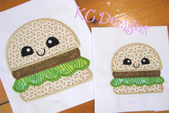 Cheat Day Hamburger Applique Design Food & Dining Embroidery Design By karen50