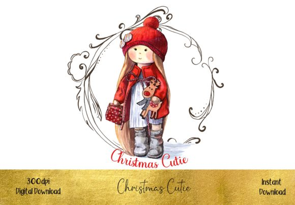 Christmas Cutie Little Girl Graphic Illustrations By STBB