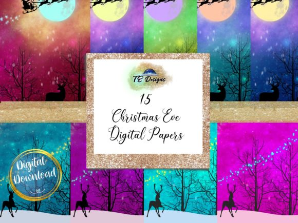 Print on Demand: Christmas Eve Digital Paper Graphic Backgrounds By TE Designs