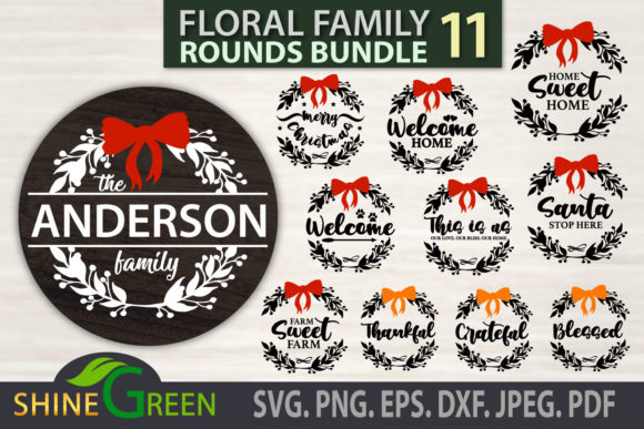 Print on Demand: Christmas Fall Bundle Floral Family Sign Graphic Crafts By ShineGreenArt