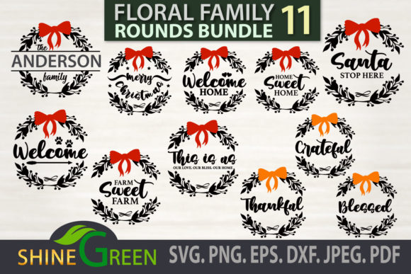 Christmas Fall Bundle Floral Family Sign Graphic Download