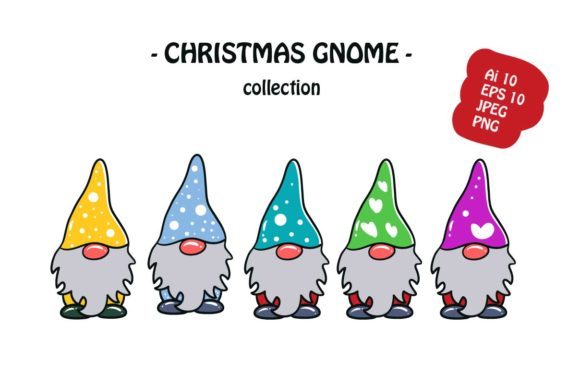 Print on Demand: Christmas Gnome Icon Illustration Graphic Illustrations By archshape