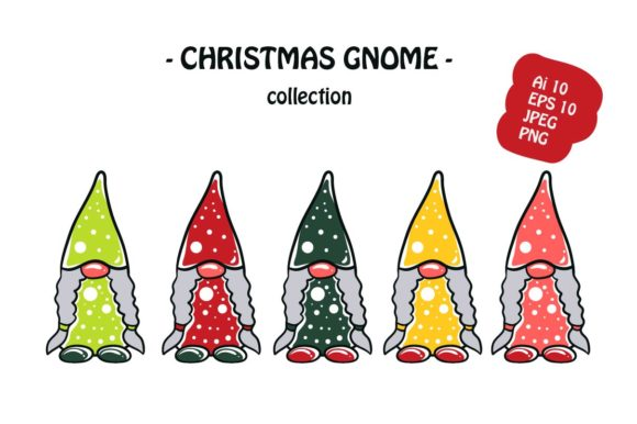 Print on Demand: Christmas Gnome Icon Pack Illustration Graphic Illustrations By archshape