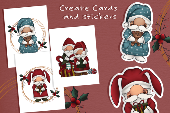 Print on Demand: Christmas Gnomes Clipart Illustration Grafik Illustrations von StudioAngelArts