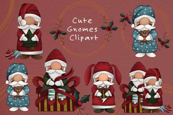 Christmas Gnomes Clipart Illustration Graphic Item