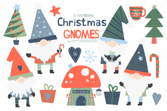 Print on Demand: Christmas Gnomes Clipart Set Graphic Illustrations By poppymoondesign