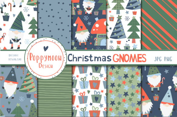 Print on Demand: Christmas Gnomes Paper Set Graphic Patterns By poppymoondesign