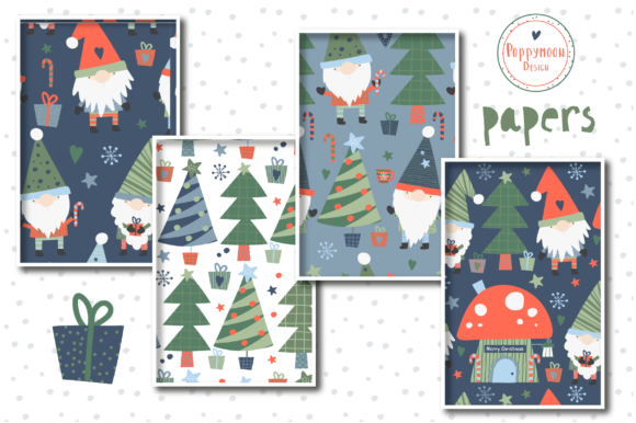 Christmas Gnomes Paper Set Graphic Download