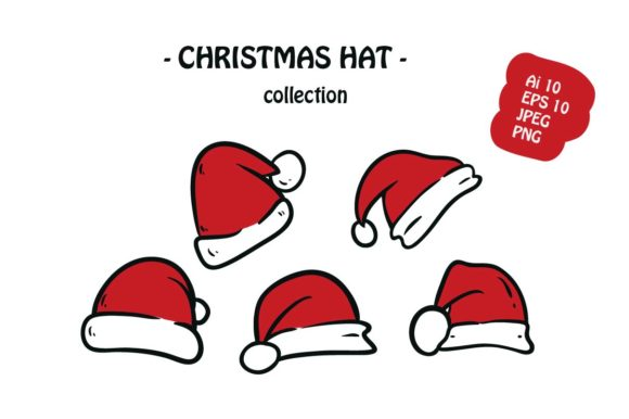 Print on Demand: Christmas Hat 5 Icon Pack Illustration Graphic Illustrations By archshape