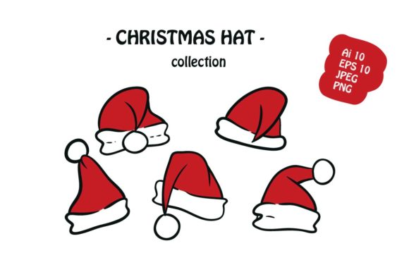 Print on Demand: Christmas Hat 6 Icon Pack Illustration Graphic Illustrations By archshape