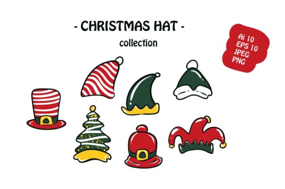 Print on Demand: Christmas Hat 7 Icon Pack Illustration Graphic Illustrations By archshape