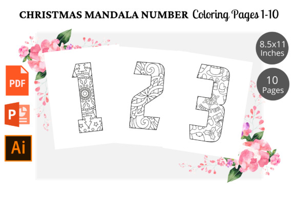 Christmas Number Coloring Page 1-10 KDP Graphic KDP Interiors By KDPWarrior