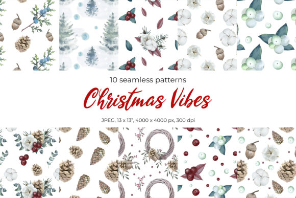 Christmas Seamless Patterns Graphic Illustrations By pavlova.j91