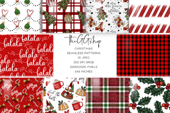 Print on Demand: Christmas Seamless Patterns Gráfico Patterns Por TheGGShop