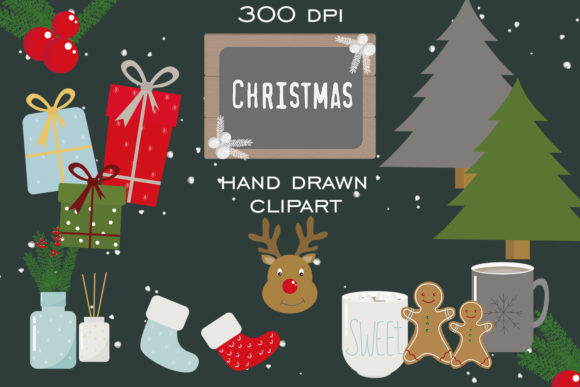 Christmas Set, Hygge Clipart Graphic Illustrations By SleptArt