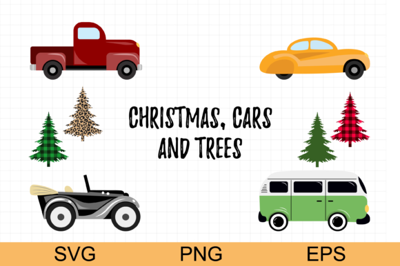 Christmas Tree and Truck Graphic Illustrations By CuteShopClipArt