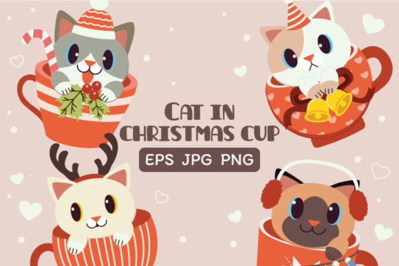 Christmas Cute Cat in Cup Clipart Graphic