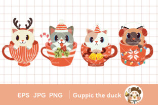 Christmas Cute Cat in Cup Clipart Graphic Illustrations By Guppic the duck 2