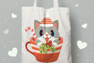 Christmas Cute Cat in Cup Clipart Graphic Illustrations By Guppic the duck 3