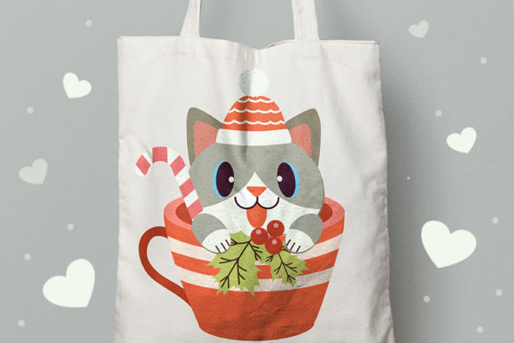 Christmas Cute Cat in Cup Clipart Graphic Item