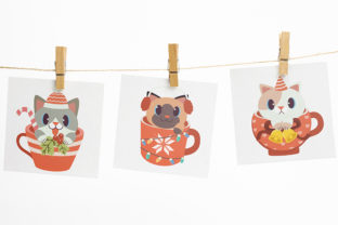 Christmas Cute Cat in Cup Clipart Graphic Illustrations By Guppic the duck 4